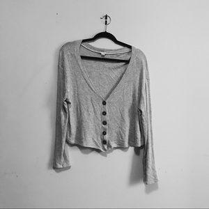 GARAGE | Grey Sweater Oversized Off Shoulder Sz M